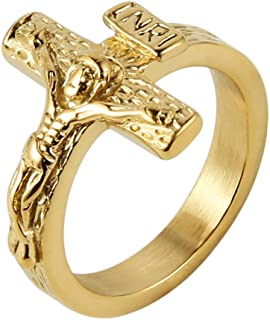 HZMAN Vintage Stainless Steel Jesus Cross Band INRI Crucifix Ring Silver Gold
