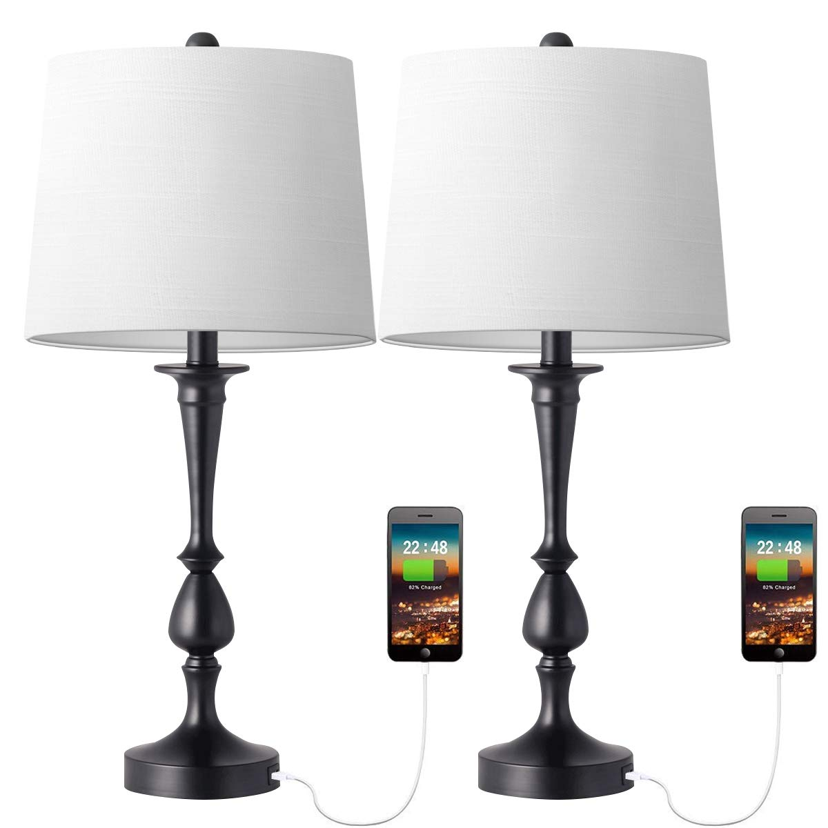 Modern Set of 2 Copper Touch Control Table Lamp Bedside Lights with Black Shades
