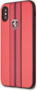 CG Mobile Ferrari Pu Leather Case for iPhone X and iPhone Xs Hard Cell Phone Cover Off Track Collection Red with Contrasti...