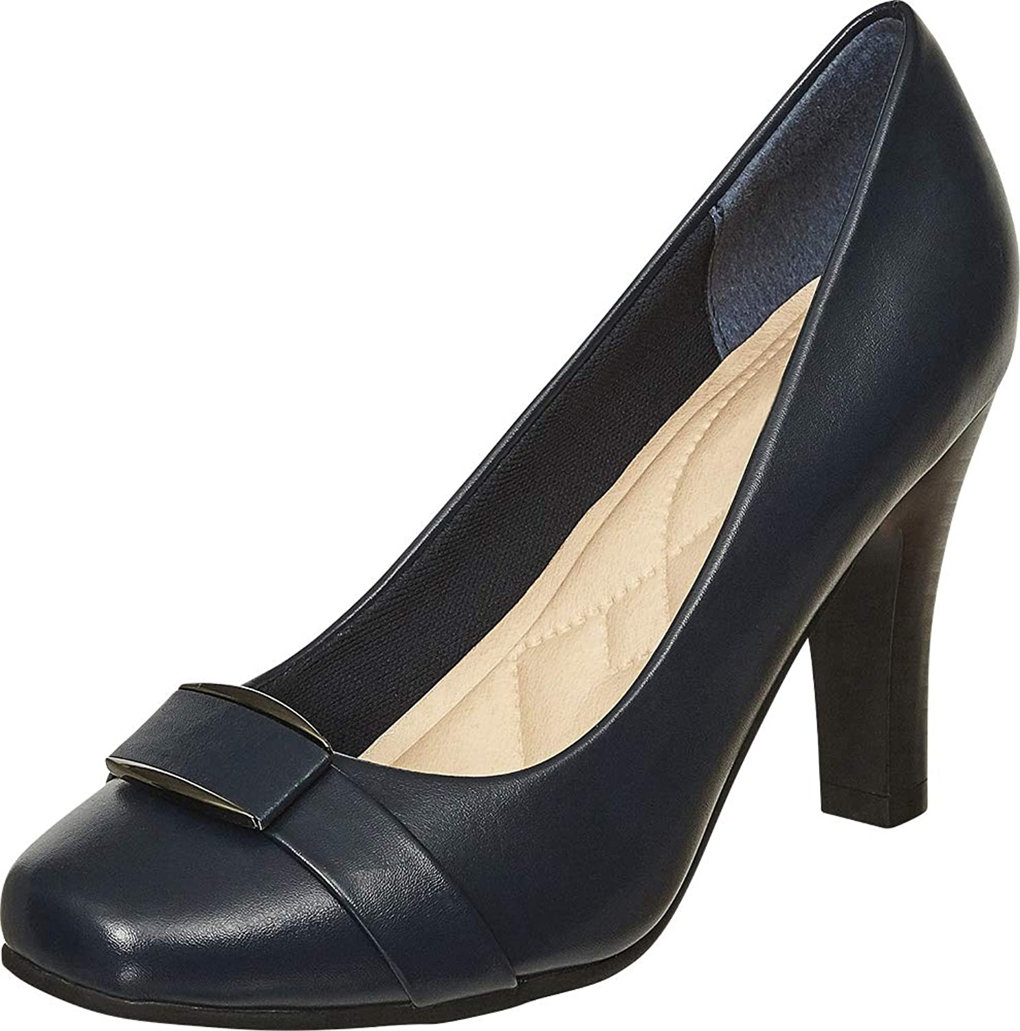 Cambridge Select Women's Square Toe Padded Comfort Tapered High Heel Pump