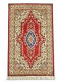 Alfombra tradicional persa hecha a mano Kirman, lana, arte de seda (puntos destacados), burdeos/rojo, pequeño, 91 x 149 cm, 3 pies x 4 pies 11 pulgadas (pies)