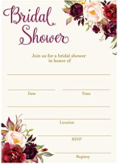 Bridal Shower Invitations Fill in The Blank Invites Floral Blooms Burgundy Wedding Shower Roses Bride to Be Wedding CoEd Cards Maroon Red Gold Watercolor Fill in The Lines (24 Count)