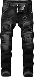 Men's Slim Fit Jeans Patch Ripped Distressed Jeans Washed Biker Moto Demin Pants