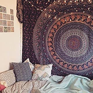 HegaHega Jaipuri Rajasthani Hippie Mandala Bohemian Psychedelic Intricate Floral Design Indian Bedspread Magical Thinking Tapestry 84x90 Inches,(215x230cms) Blue