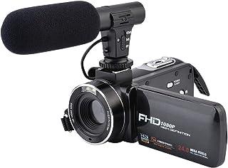 ビデオカメラビデオカメラ、Camking FHD-DV02 1080 P 24.0 MP 16 Xデジタルビデオカメラと外付けマイクと3.0インチIPS HDタッチスクリーンデジタルズームカメラレコーダー