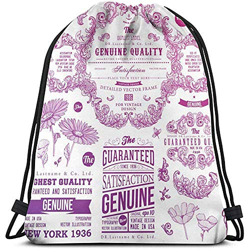 shenhaimojing Sport Bag Taslilye Ornaments And Frames Retro Style Badges And Logotypes Drawstring Bulk Bags Backpack Bag Sport Gym Sackpack For Men And Women Outdoor Travel Personalized