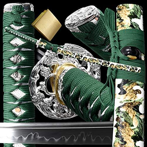 Japanese Samurai Katana Sword /1095/T10High Carbon Steel Heat Tempered/Clay Tempered, Dragon Tsuba,Full Tang,Functional Sharp, Razor Sharp,Battle Ready