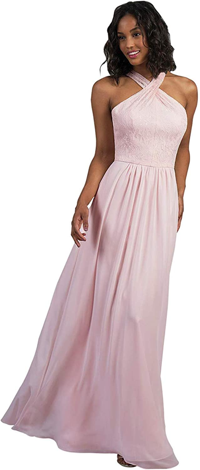 RTTUTED Lace Long Bridesmaid Dresses with CrissCross Neckline Prom Evening Gown