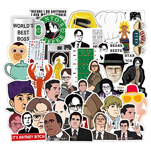 50pcs The Office Stickers, LetsRun Waterproof Vinyl Stickers for Laptop, Bumper, Water Bottles, Computer, Phone, Hard hat, Car Stickers and Decals, DIY Decoration as Gifts for Kids Girls Teens