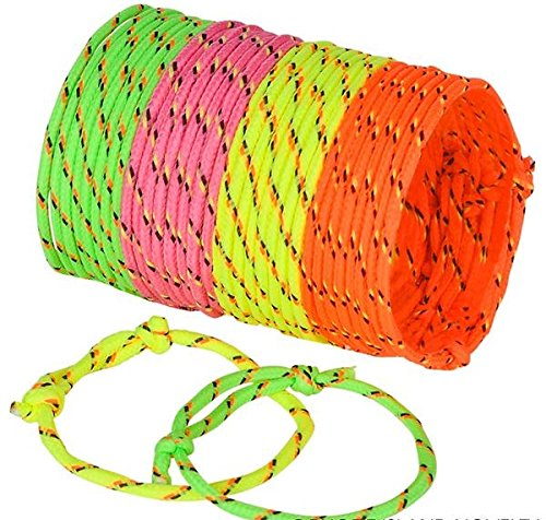 Bulk Neon Rope Woven Friendship Bracelets for Kids, Teens and Adults - Bulk Party Pack of 144 Bracelets in 4 Assorted Neon Colors