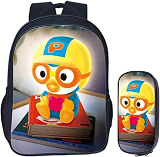 2 in 1 Childrens Rucksack Sets The Little Penguin's Joy Prints 2pcs Primary Schoolbag + Pencil Case for Boy Girls