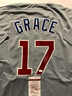 Autographed/Signed Mark Grace Chicago Cubs Grey Baseball Jersey JSA COA