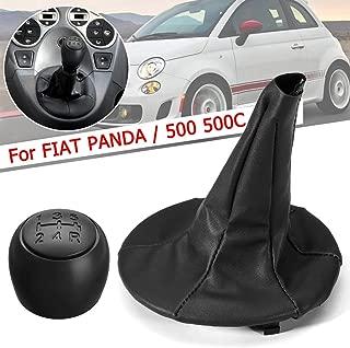 KeoKasu - 5 Speed Car MT Gear Shift Knob PU Leather Gaiter Boot Cover For Fiat Panda 2003-2012/500 500C 2007-2013