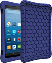 Fintie Silicone Case for All-New Amazon Fire HD 8 (Compatible with 7th and 8th Generation Tablets, 2017 and 2018 Releases) - Honey Comb [Corner Enhancement] Shockproof Kid Friendly Cover, Navy