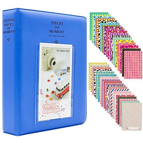 Ablus 64 Pockets Mini Photo Album for Fujifilm Instax Mini 7s 8 8+ 9 25 26 50s 70 90 Instant Camera & Name Card (64 Pockets, Cobalt Blue)