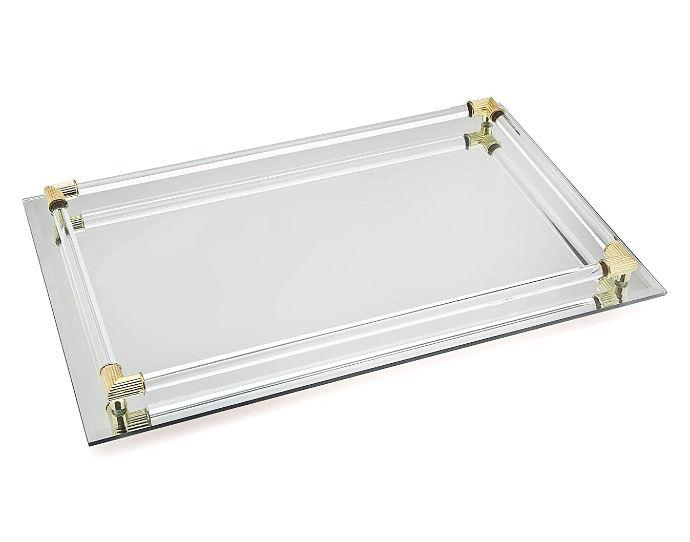 Studio Silversmith Mirror Vanity Tray with Gold Plated Accents - 8