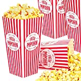 Stock Your Home 46 Oz Popcorn Containers (50 Count) Greaseproof Classic Popcorn Containers for Movie Night with Auto Pop-Up Design - Recyclable Popcorn Boxes for Home Movie Theaters, and Parties