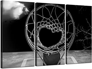 sechars - 3 Panel Canvas Prints Black and White Basketball Hoop Pictures Wall Art Sports Artwork Gallery Canvas Wrapped Ready yo Hang Modern Man Boys Bedroom Wall Decor
