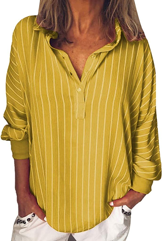 Popular product WOCACHI Blouses Max 74% OFF for Womens Button Down Sleeve Lapel V Neck Long