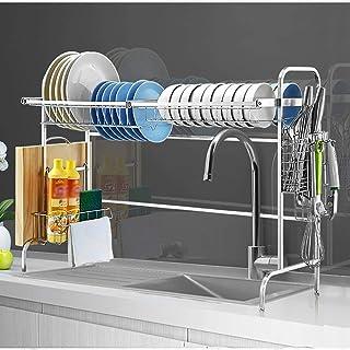 GOHHK Égouttoir à Vaisselle sur évier, égouttoir étagère de Rangement comptoir Organisateur Porte-ustensiles en Acier Inox...