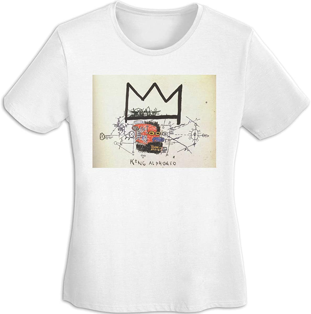 JIkLQmvtb Jean-Michel Basquiat Women Youth Girls Shirt Summer Casual T-Shirt Short Sleeve O Neck Shirts Tops