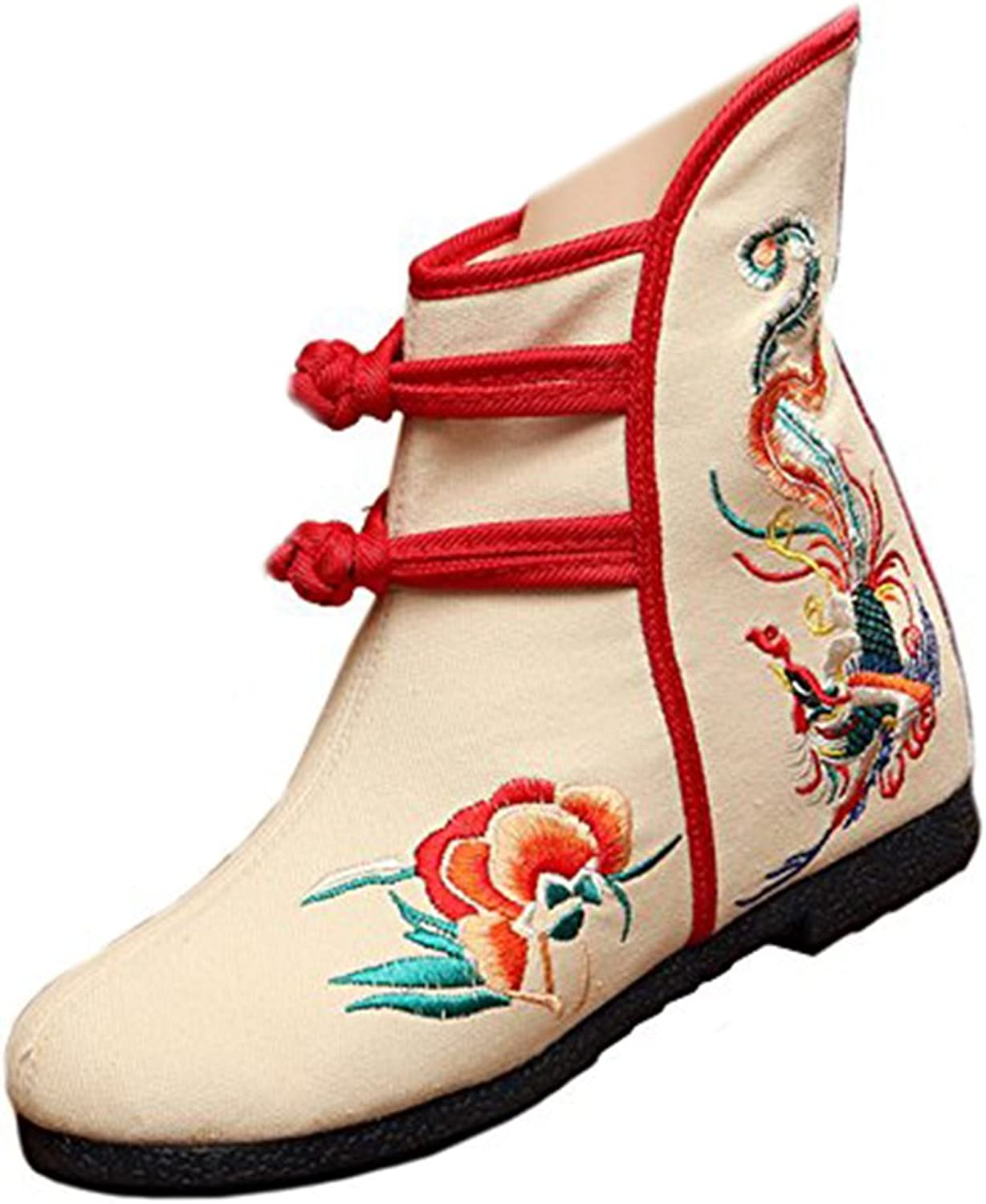 Shenghuajie Vintage Beijing Cloth shoes Embroidered Boots 12-01 Beige with Cotton