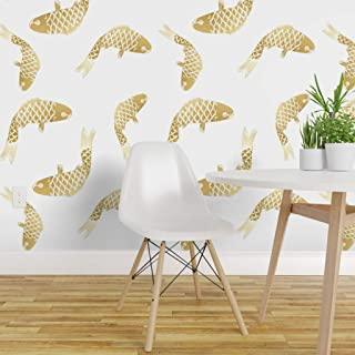 Spoonflower Pre-Pasted Removable Wallpaper, Goldfish Modern Gold White Fish Koi Chinoiserie Asian and Print, Water-Activated Wallpaper, 24in x 108in Roll