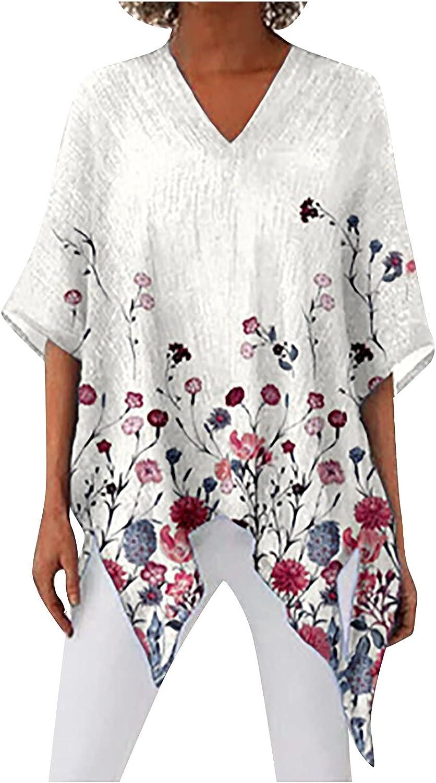 Olivcker Women Tunic Tops Flower Print Half Sleeve V-Neck Loose Casual Irregular Hem Linen Home Summer Shirt