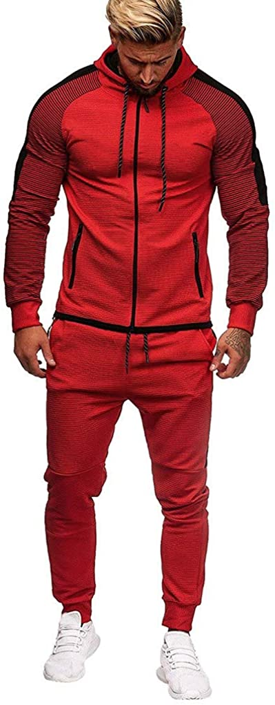 Limsea Men's Sports Suit Tracksuit 2021 Spring Solid Color Full-Zip Running Jogging Sports Jacket and Pants