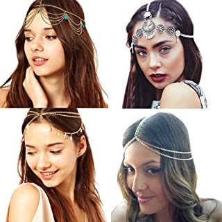 4 Pcs Gold Head Chain, Turquoise Tassel Hair Jewelry Prom Indian Bridal Wedding Gypsy Head Hair Chain Boho Headbands
