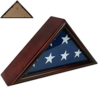 Indeep Flag Display Case 3' x 5' Veteran Flag Holder Frame Shadow Box Solid Wood (Not for Burial Funeral Flag)