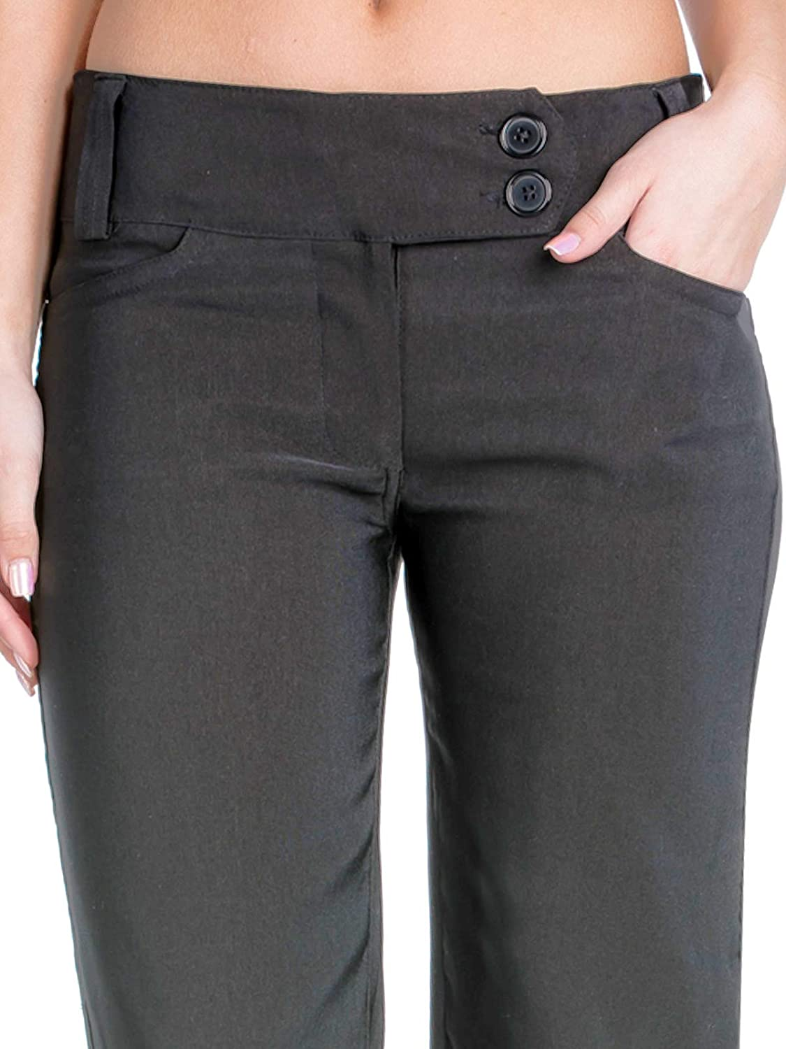 Design by Olivia Women's Relaxed Boot-Cut Stretch Office Pants Trousers Slacks