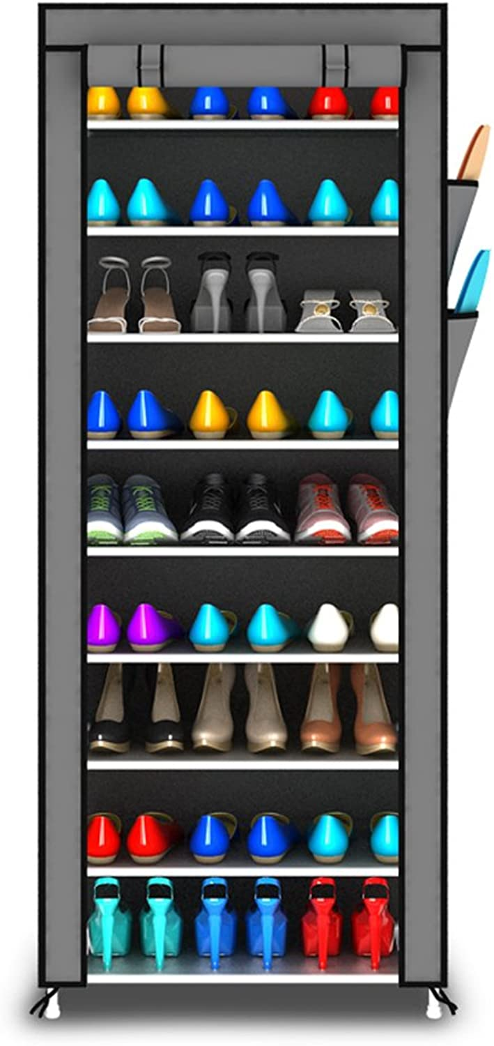 QFFL xiejia Thickening Iron Art dust-Proof shoesbox Multi-Layer Cloth shoes Rack Dorm Room shoes Storage Rack Simple Modern shoes Cabinet 60  30  160 cm shoesbox (color   C)