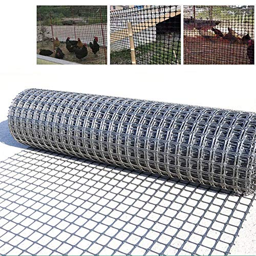 LJIANW Patio Snow Fence, Plastic Chicken Wire Mesh, Poultry Netting Balcony Fence PVC Coated for Dog/Animal Barriers Hole Size 30mm, 50m (Color : 1.2MM, Size : 1.5X50M)