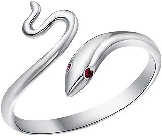 TomSunlight 925 Sterling Silver Adjustable Finger Opening Ruby Eye Snake Ring