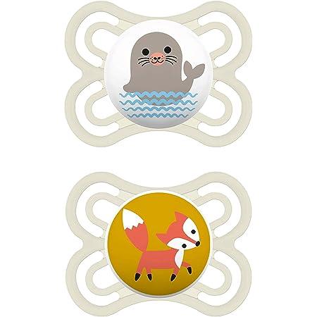 MAM Juego de 2 chupetes Perfect, chupete para bebé de silicona especial MAM SkinSoft con caja para chupete, 0-6 meses, foca y zorro, Instrucciones en lengua extranjera