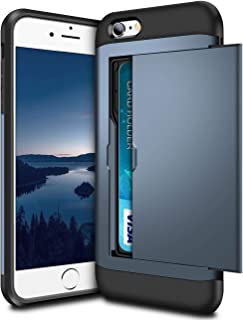 SAMONPOW Wallet with Card Holder Cover for iPhone 6 Plus iPhone 6s Plus Case Dual Layer Protective Hard PC TPU Inner Rubber Back Card Slot Cover for iPhone 6 Plus iPhone 6s Plus 5.5 inch Dark Blue