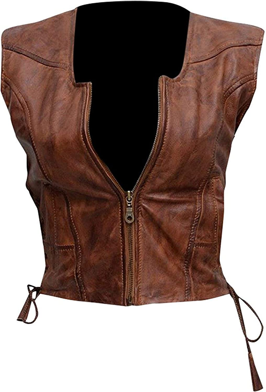 Erha Accessories The Walking Dead Michonne Danai Gurira Motorcycle Brown Faux Leather Vest for Women's