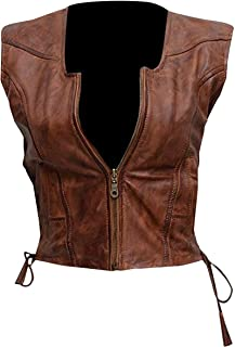 CHICAGO-FASHIONS Womens Brown Biker Leather Vest