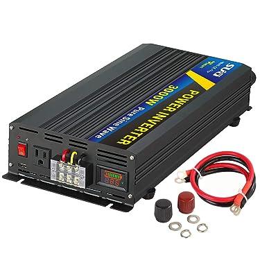 Sug 3000W(Peak 6000W) Power Inverter Pure Sine Wave DC 12V to AC 110V 120V Converter Back up Power Supply for Solar System, RV, Home, Car Use