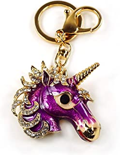 Unicorn Head keychain Rhinestone Enamel Crystal Handbag Key Charm Ring Pendant Chain Keyring