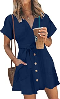HOTAPEI Womens Fashion Stripe Short Sleeve Wrap V-Neck Casual Summer Button Front Mini Short Shirt Dress with Belt