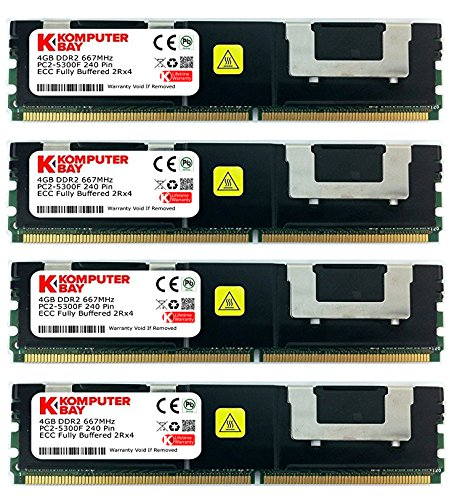 Komputerbay 16GB (4X 4GB) DDR2 PC2-5300F 667MHz CL5 ECC Fully Buffered FB-DIMM (240 PIN) 16 GB w/Heatspreader