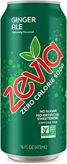 Zevia Ginger Ale, 16 Fluid Ounce Can,Zero Calories or Sugar, Naturally Sweetened, Carbonated Soda, Refreshing, Flavorful and Tasty ,Pack of 12