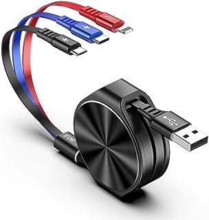 【2020年最新】AOJI 充電ケーブル usbケーブル 巻き取り 3in1 3A急速充電 高速データ転送 120cm ライトニングケーブル/USB Type C/Micro 同時給電可能 (black)
