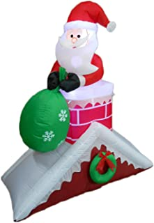 5 Foot Tall Christmas Inflatable Santa Claus on Chimney Roof Yard Decoration