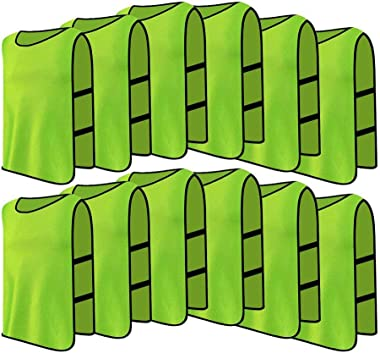 12 Pack Jerseys Bibs Breathable Adults Football Scrimmage Training Vests for Volleyball Soccer Basketball