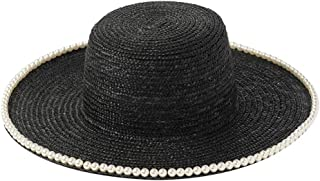 Classical Wheat Straw Hats Flat Top Wide Brim Boater Hat with Pearl Trip Summer Sun Hats for Women Elegant Ladies Cap Derby Hat
