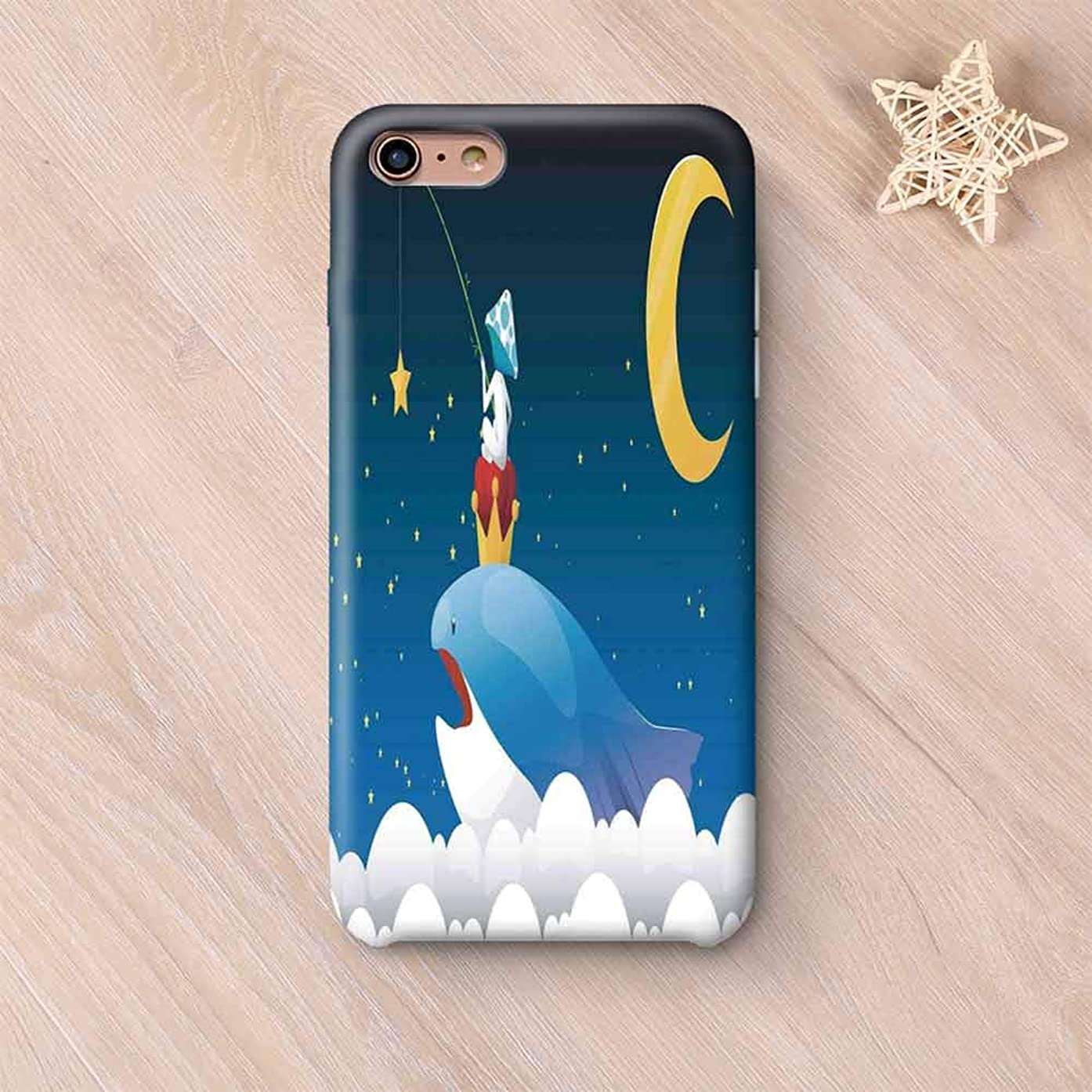 Whale Decor Wear Resisting Compatible with iPhone Case,King Whale on Top of Night Clouds with Stars and Moon with Child Sitting on Compatible with iPhone 7/8,iPhone 6 Plus / 6s Plus