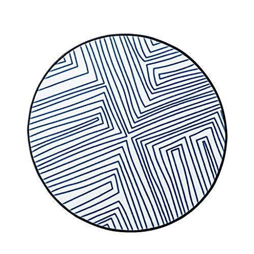 Mjb Teppich, schlicht, blau gestreift, rund, kreativ, Wohnzimmer, warm, Nylon, bequem, 150 x 150 cm (Größe: 100 x 100 cm)